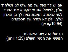 אם יש לך ספק של מה שיש לנו נשלחתי אליך, לשאול את מי שקורא את הספר לפני שאתה. האמת באה לך מן האדון שלך, ולכן לא תהיה של הספקנים (10:94קוראן) הביטו! הנה שה האלוהים הנושא את חטאי העולם (1:29 יוחנן)